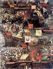 Two months later, at the Battle of Lepanto, the united Christian fleet destroyed the Ottoman fleet, but was unable to take advantage of this victory. The Ottomans quickly rebuilt their naval forces, and Venice was forced to negotiate a separate peace, ceding Cyprus to the Ottomans and paying a tribute of 300,000 ducats. Depictions of the Ottoman Navy during the battle of Lepanto