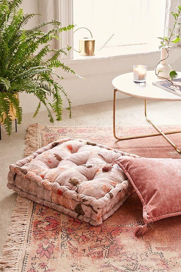 Sierra Floral Velvet Floor Pillow Floor Pillows Floor Cushions