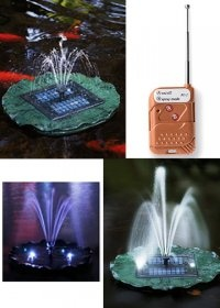 Floating solar fountain works day and night, with variety of sprays and LED lights! Save and pretty for ponds and pools!