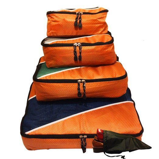 Evatex Travel Packing Cubes, Set of 4 Pieces with Shoe Bag (Color: Orange)