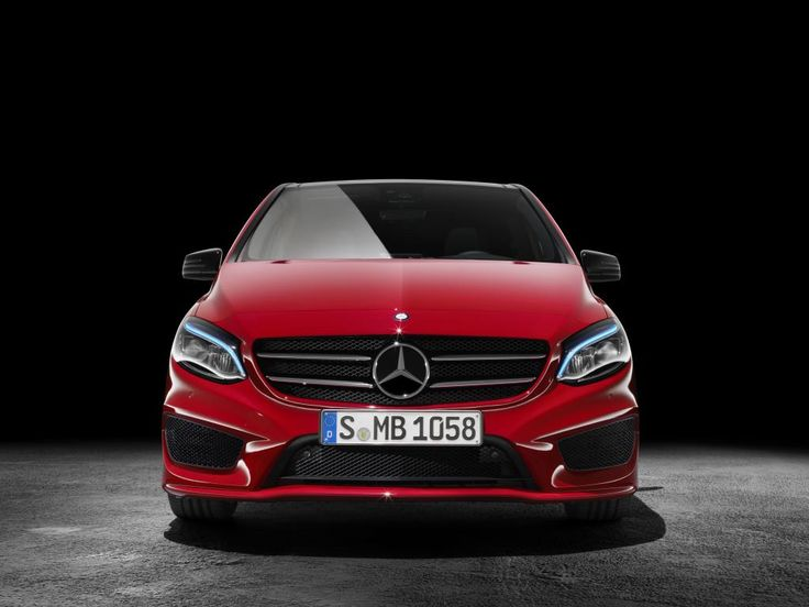 Mercedes-Benz B-Class model year 2014, jupiter red, AMG Line, studio [Fuel consumption combined: 6,7-3,6 (l/100 km) CO2 emission combined: 156-94 g/km]  #mbhess #mbcars #mbbclass