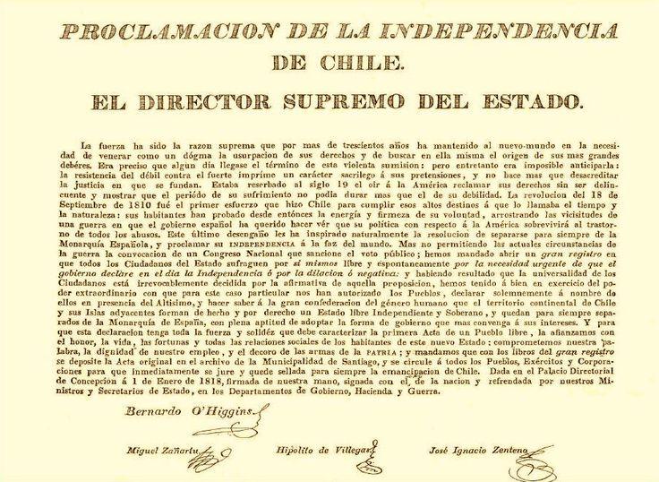 ACTA DE INDEPENDENCIA DE CHILE, firmada en Talca 1818, destruida en 1973.