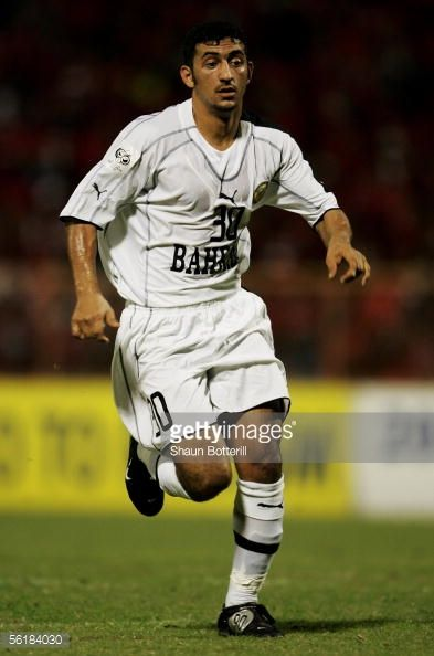 ER 12 Alaa Ahmed Hubail of Bahrain in action during the FIFA 2006 World Cup Playoff First Leg match between Trinidad Tobago and Bahrain at the Hasley...