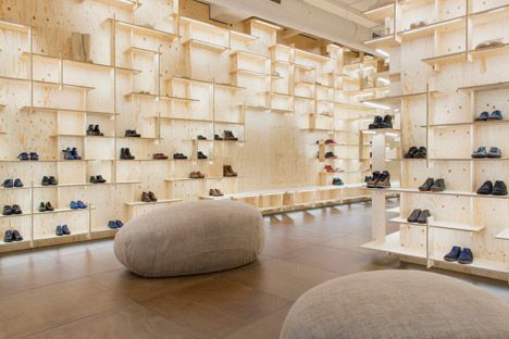 """""""Kengo Kuma wraps the inside of Camper's Milan store in a timber grid"""" - Dezeen"""