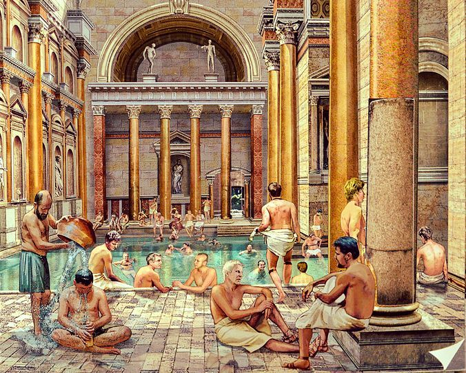 This is a good example of a Roman bath house. The colors ...