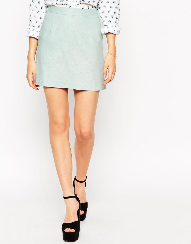 Image 4 of ASOS A-Line Linen Mini Skirt