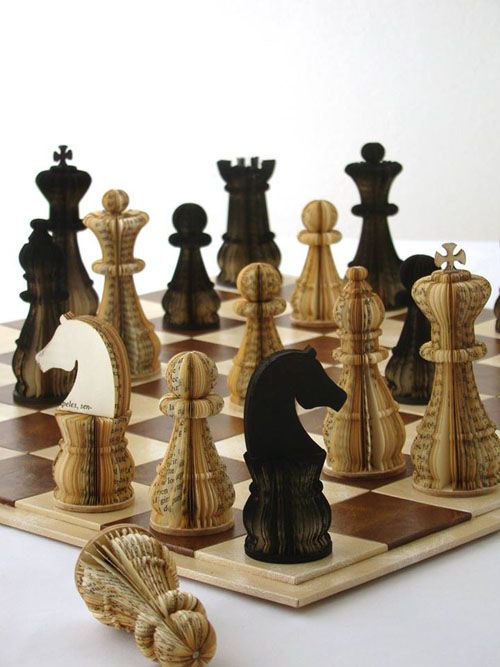 "*Paper Sculpture - ""Order and Chaos"" by Arian Dylan (Chess Set - Altered Book)"