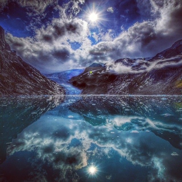 A magical reflection in an unnamed Fjord in Greenland
