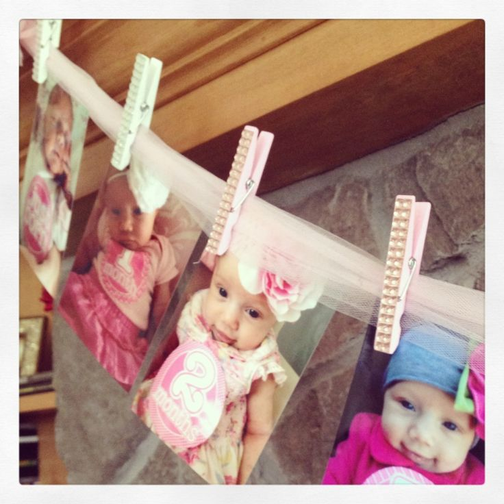 Tulle + Bejeweled Clothespins = an adorable way to display monthly photos at #firstbirthday!: Birthday Parties, Showers Birthday, Monthly Photos, Months Photos, 1St Birthday, First Birthdays, Clothespins Firstbirthday
