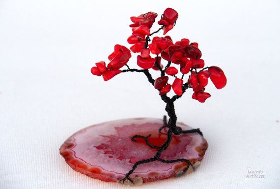 Wire Tree/Gemstone tree/Tree of Life/Wire tree sculpture/Zen decor/Red tree/Wire Bonsai/Feng Shui tree/Gifts/Red coral tree