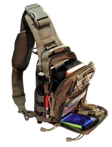 Some times people remark that our small TravTac tactical sling bag is too small. If you are looking for an all day 'hiking into the wilderness' back pack they may be right. Then again, they may simply be missing the point. The small tactical sling bag style is designed to organize and carry all the little things you want to carry with you that won't fit in your pockets, but fit in a bag small enough to be easy and convenient to carry.  Unlike clumsy back packs that are strapped ov...