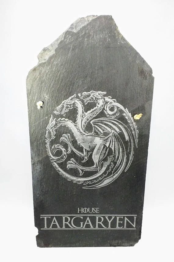 Laser Etched Game of Thrones House Targaryen Slate Shingle. The Shingle These are repurposed slate shingles from a very old house, I am not sure of the age but you can see square nail holes in many of these.Looking up the history of Square nail usage seemed to stop around the end of