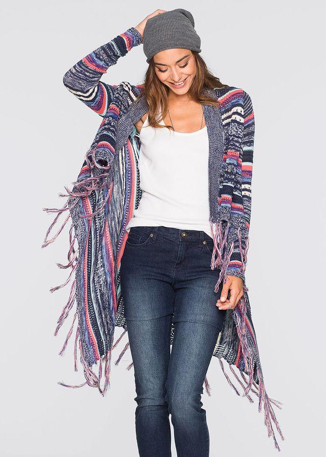 Sweter bez zapięcia, z frędzlami • 109.99 zł • bonprix