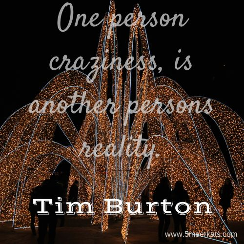 One person craziness, is another person's reality. Tim Burton #crazy #reality