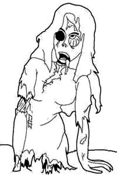 cartoon zombie girl coloring page - Black Ops Zombies Coloring Pages