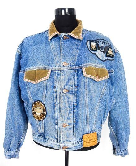 Vintage Denim Patched Bomber Jacket