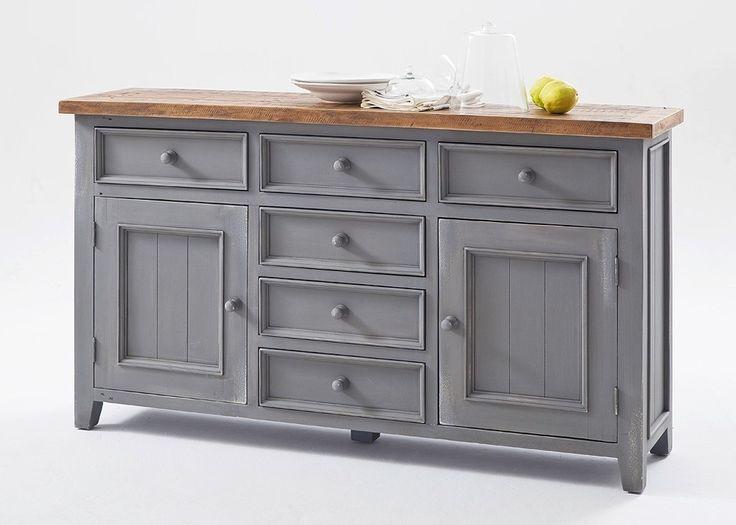 Great Sideboard Landhausstil Byron Holz Massiv Grau mit Vintage Braun Buy now at http