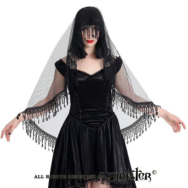 Cole sluier met brokaat kant detail zwart - Gothic Lolita Halloween