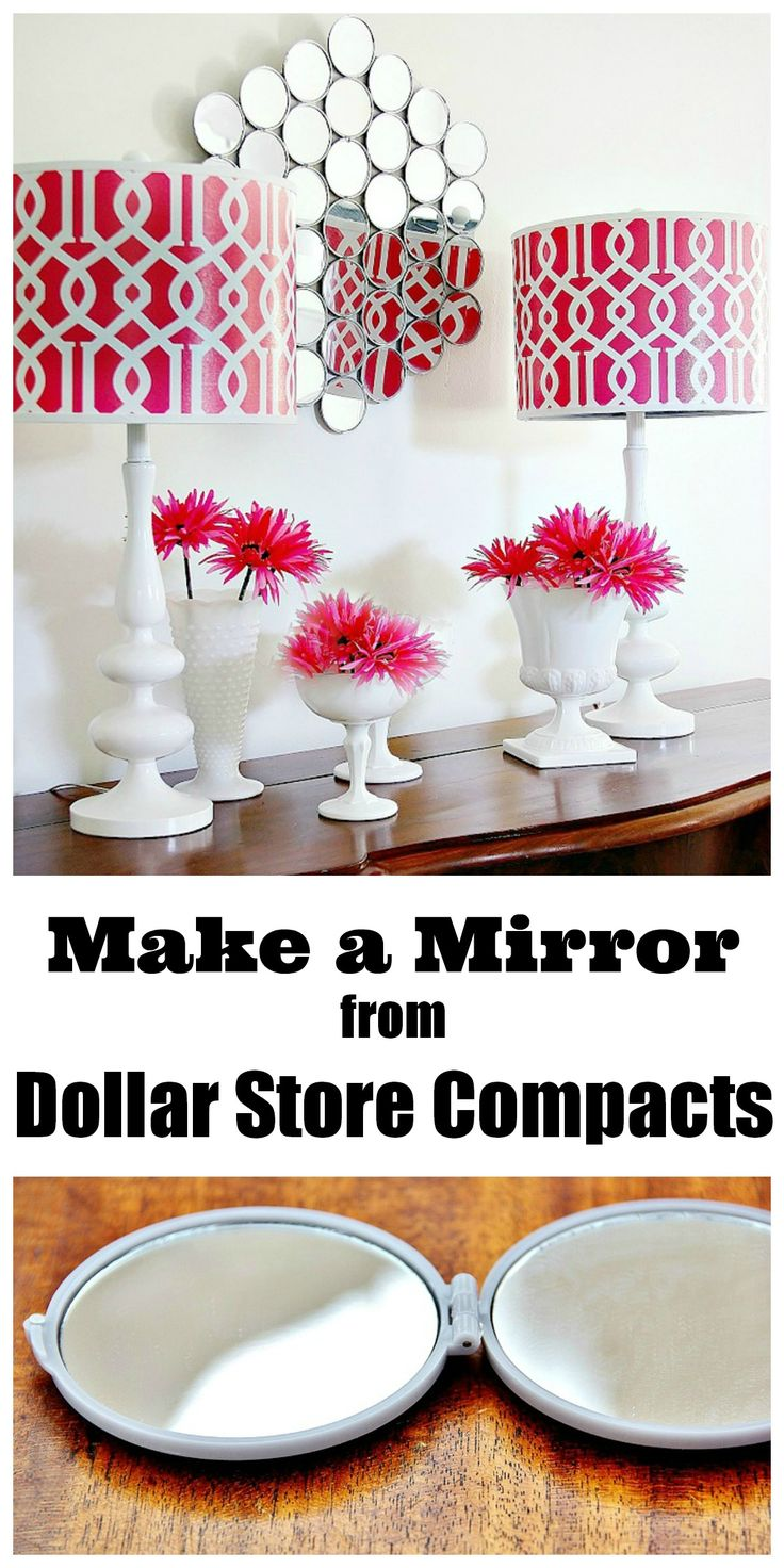 Easy project....make a wall mirror from dollar store compacts.  High end mirror knock off project!