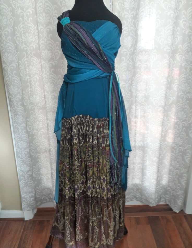 Indie Prom Dress, Unique Prom Dress, Teal Special Occasion Dress, Boho Upcycled Prom Dress, Hippie Prom Dress, Fairy Prom Dress by OnceAndFutureApparel on Etsy