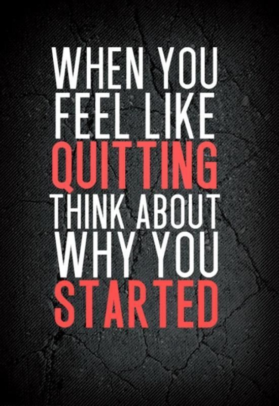 Never give up! Always remember the root of why you started ...
