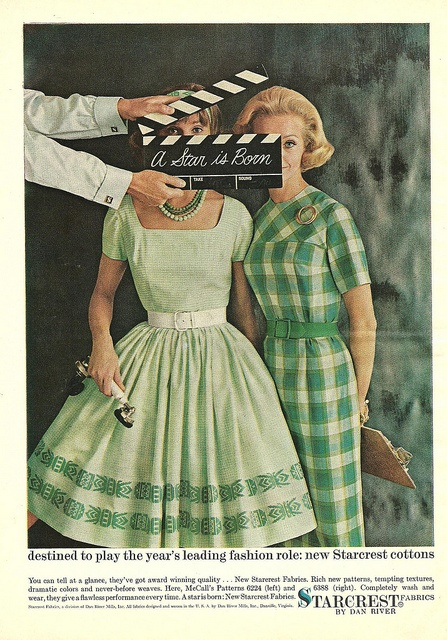 They're destined to play the year's leading fashion role. #vintage #1960s #fashion #ads #green