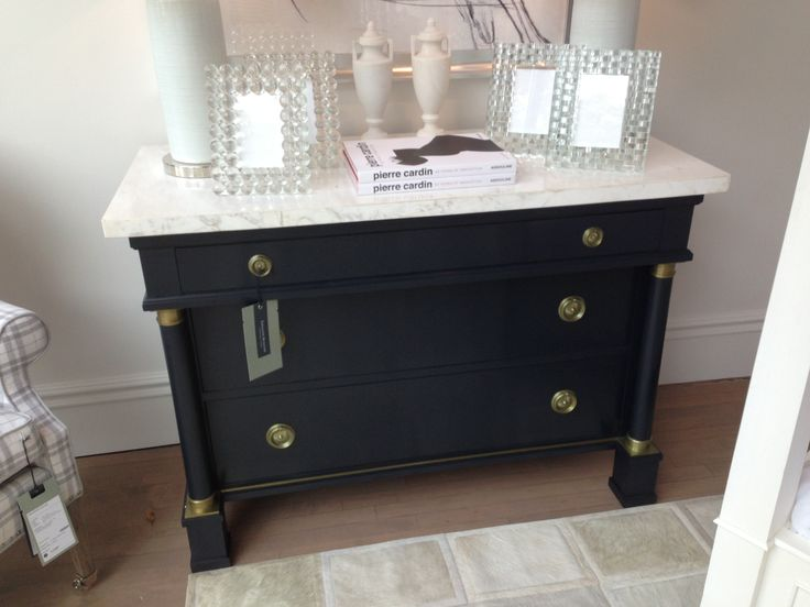 Marble Top Navy Dresser With Brass Hardware Want It