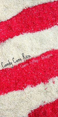 How to make rice that smells just like a candy cane for Christmas sensory play.