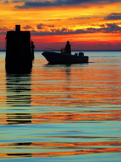 Sunset, water, boat, reflection, photography, silhouette