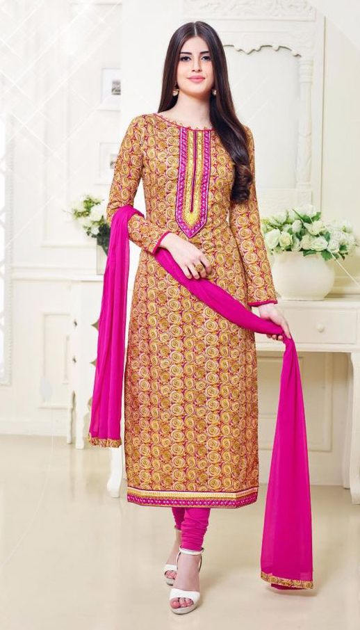 Buy Online Designer Printed Churidar Suit or shuits Beige and Pink Color, Cotton material, Chiffon Dupattas, Party Wear, Casual wear, Summer Wear, Festival Wear, Kitty Party Wear for women, Churidar Suits, Churidar suit, shuits for women. We have large range of Designer Printed Cotton Churidar suits in our website with the best pricing and unique designs shipping to (UK, USA, India, Germany, UAE, Canada, Singapore, Australia, Mauritius, New Zealand) world wide.