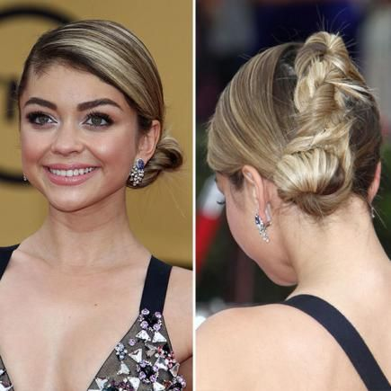 """This style is definitely a case of """"business in the front, party in the back."""" For a polished look like Sarah Hyland's, embrace a deep side part. #Homecoming #Hairstyles"""