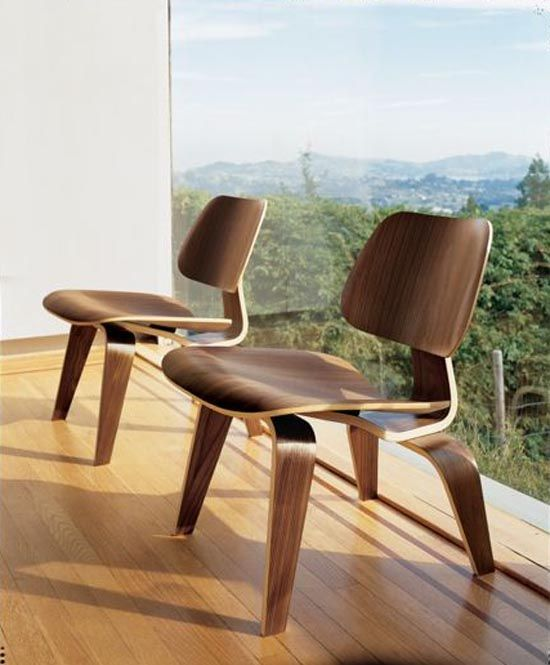 eames - molded plywood cherry wood veneer finish lounge chair