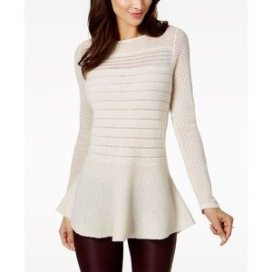Charter Club Cashmere Mixed-Knit Peplum Sweater, Created for Macy's
