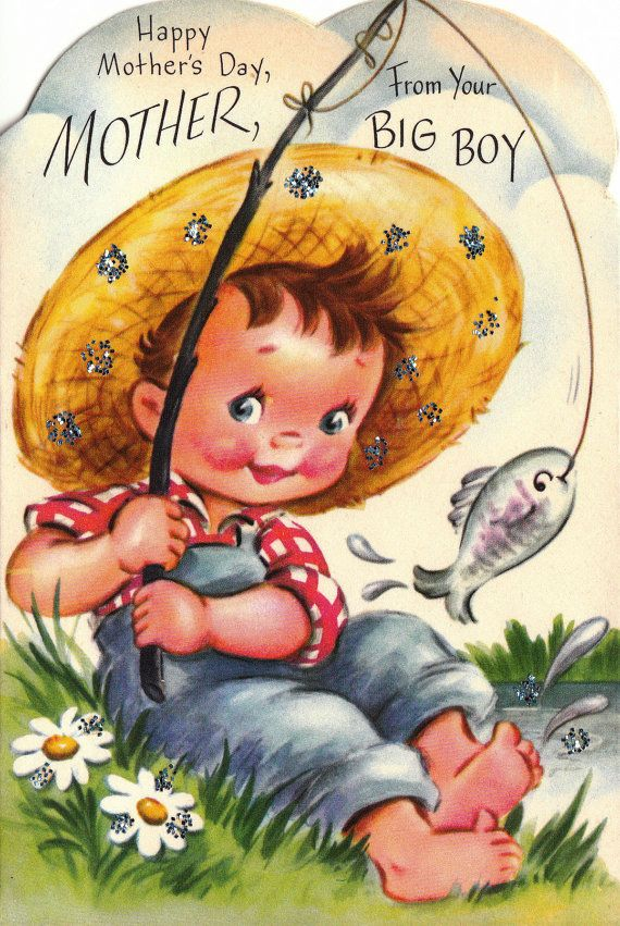 Happy Mother's Day for your big boy! #vintage #Mothers_Day #cards #fishing
