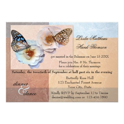 Erfly Wedding Reception Pastel Post Or After Invitation