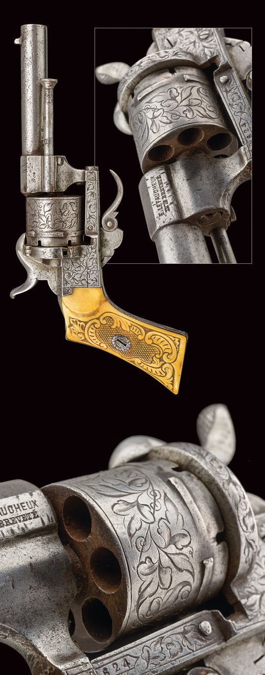A pin-fire revolver:    provenance:	 	Belgium dating:	 	third quarter of the 19th Century