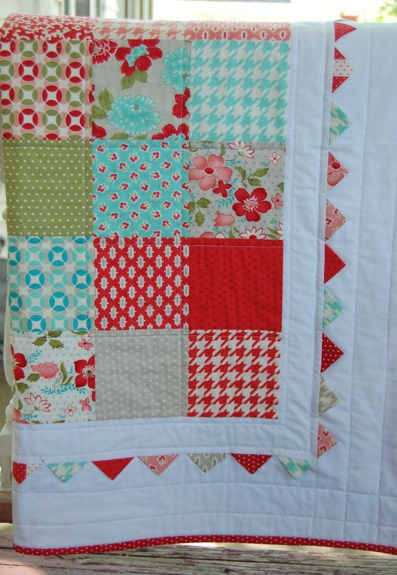 Vintage Modern Baby Quilt -  Patchwork Quilt - Baby Blanket - Modern Baby Quilt - Quilted Blanket - Moda Vintage Modern. $125.00, via Etsy.  If I knew we were having a girl, I would pick this!