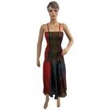 "Women Boho Bohemian Cotton Tie Dye Stripes Printed Spaghetti Smocked Waist Maxi Dress 48"" (Apparel)  #Dress"