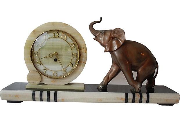 art deco elephant clock circa 1910 1950 antiques vintage pinterest pewter metal clock. Black Bedroom Furniture Sets. Home Design Ideas