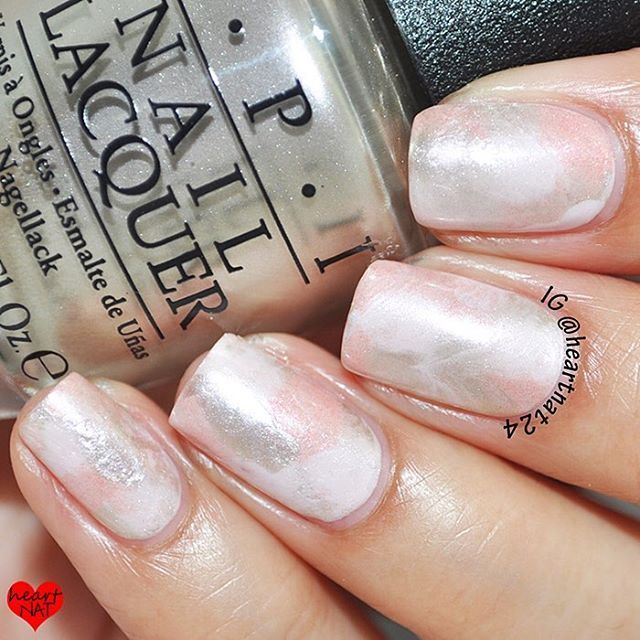 @heartnat24 Saran Wrap marble made with @opi_products Let Me Bayou a Drink, OPI Humidi-Tea, & OPI Take a Right on Bourbon. Does that make anyone else want a drank?