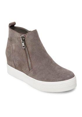 Steve Madden Women's Wedge High Top Sneakers - Gray Suede - 6.5M