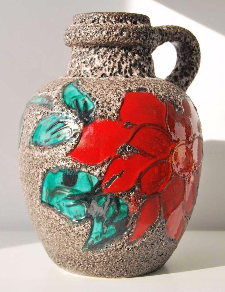 Западно-германский керамика scheurich пол xl красный ваза современный дизайн середины века жир лава винтаж | eBay