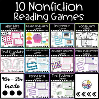 These Nonfiction Reading Games include 10 interactive games with 161 pages, which target key reading comprehension skills for 4th/5th grades, and make great centers. Games include Main idea, Cause and Effect, Inference, Details and Examples, Informational Text Structure, Compare and Contrast (Firsthand and Secondhand Accounts), Vocabulary (Context Clues), Paired Text, Reading with Visual Information (Pictures, Timelines, and Charts), and Text Evidence.