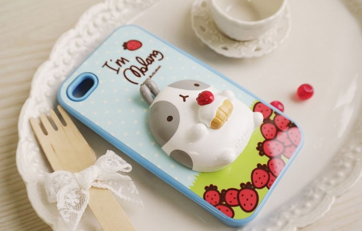 iPhone 4 Cute Molang Change Up 3D Jelly Case Blue Strawberry