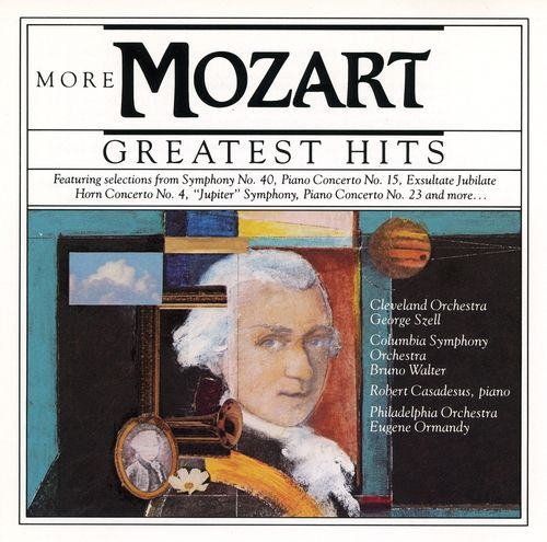 1990 Mozart - More Greatest Hits (CBS Masterworks) [CBS MLK45813 / 074644581324] cover illustration by Michael Ng #albumcover #portrait
