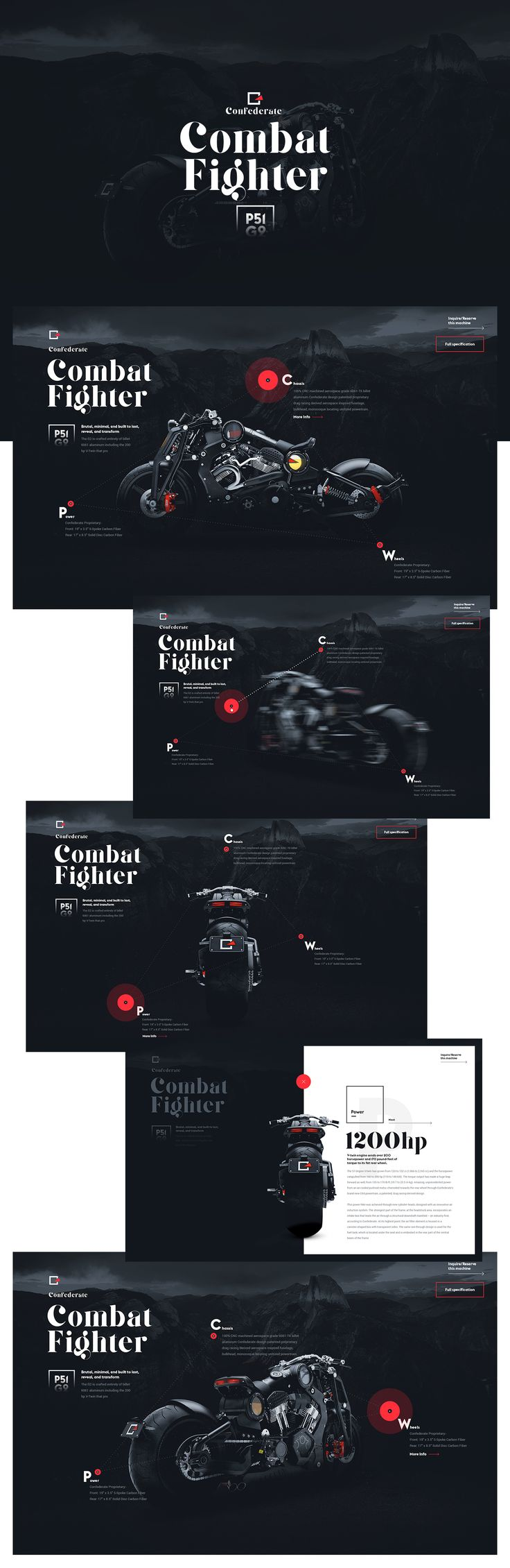 Ui design concept and visual identity for the new Microsite for  Confederate-P51-Combat-Fighter.