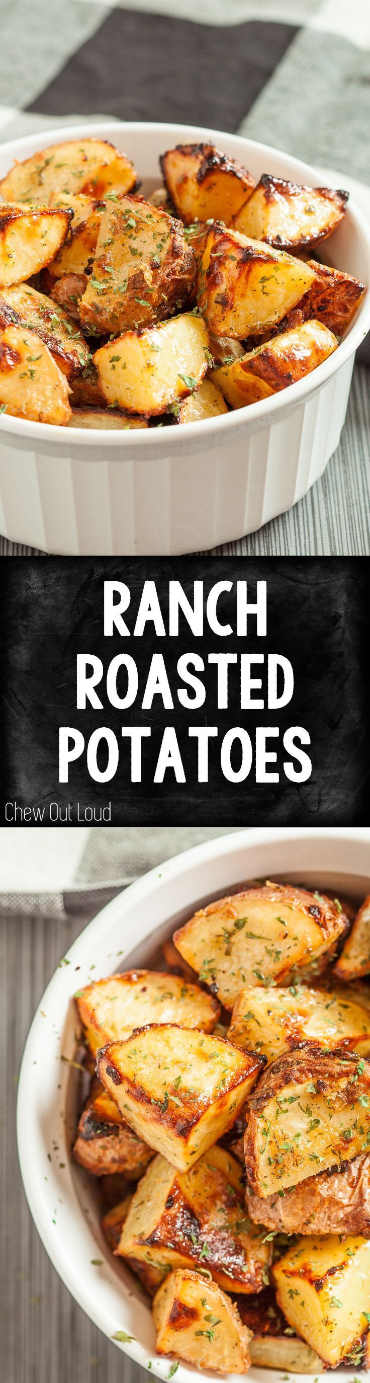 All-Natural, nothing artificial in these savory Ranch Roasted Potatoes. Simply delish. #potatoes #side