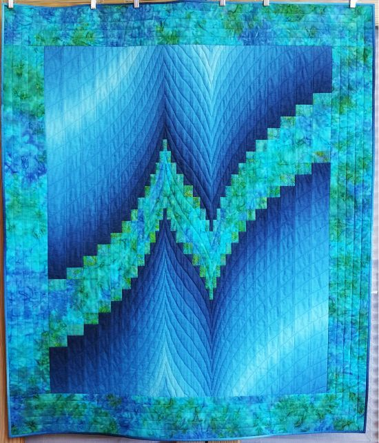 Lightning Bolt bargello quilt at Nevada Dry Goods.  Based on a design by Susie Weaver.