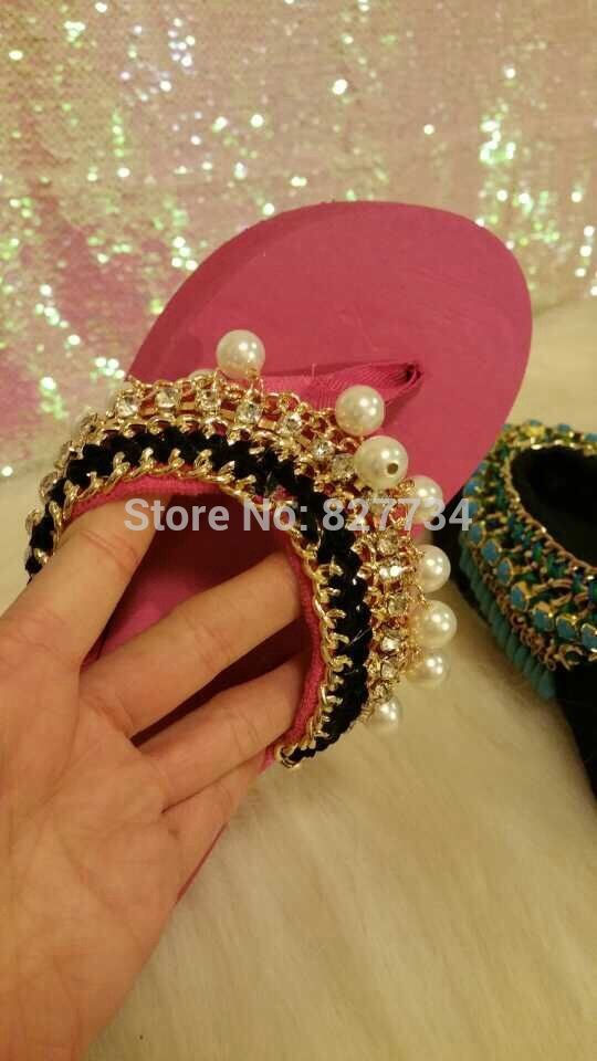 Ручное шитье перл кисточкой удобные высокое качество розовый пляж сандалии кисточкой шлепанцы девушка моды sandalias