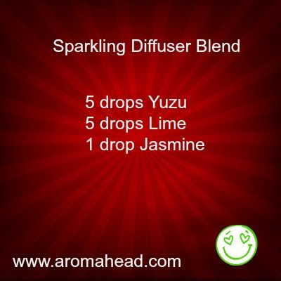 This diffuser blend will bring a great burst of sunshine into your home!  The aroma of Yuzu essential oil is somewhere between Grapefruit and Tangerine, with soft hues of Bergamot and Lime. http://www.aromahead.com/blog/2014/04/14/yuzu-essential-oil/